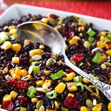 Black rice with corn and cranberries