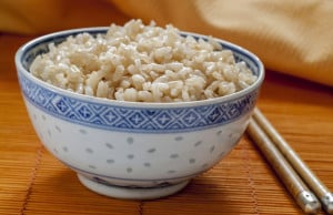 Brown rice in a bowl
