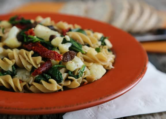 Cauliflower & Spinach Pasta recipe