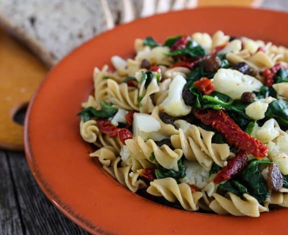 Cauliflower & Spinach Pasta whole wheat twists
