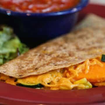 Vegan Sweet potato and corn quesadillas