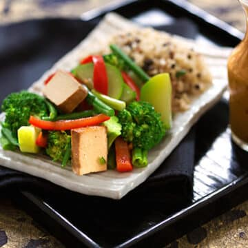Thai-Style Steamed Green Vegetables with Coconut-Peanut Sauce recipe