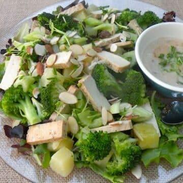 Tofu, broccoli, and pineapple salad