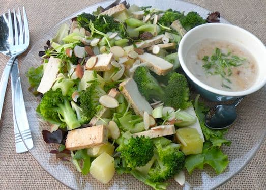 Tofu, broccoli, and pineapple salad