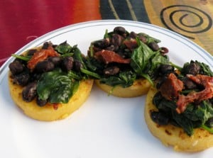 polenta with black bean sauce