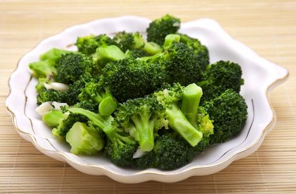 Broccoli in a seashell dish