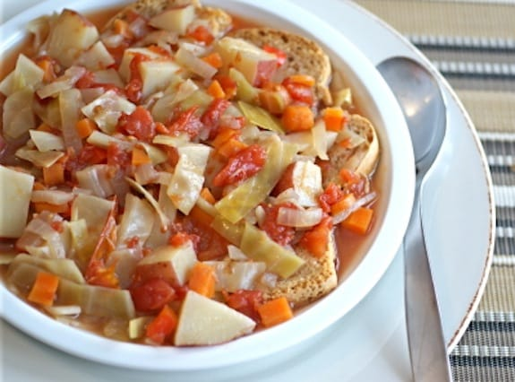 sweet and sour bread and cabbage stew