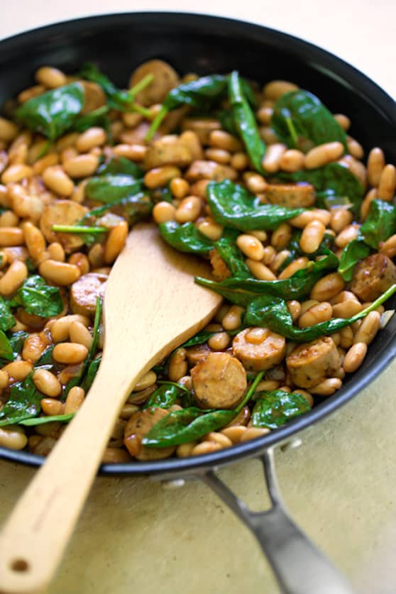 BBQ White Beans with vegan sausage and spinach recipe