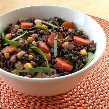 Black rice with black-eyed peas and corn recipe