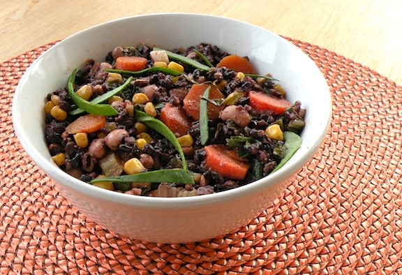 Black rice with black-eyed peas and corn recipe
