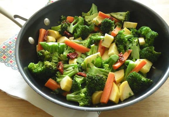 Sautéed Broccoli or Broccoli Rabe, Baby Carrots, and Yellow Squash