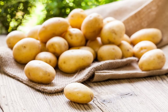 Fresh golden potatoes