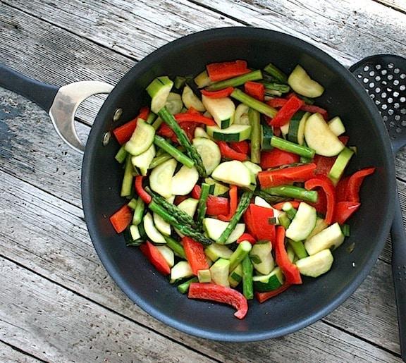 Asparagus, squash, and red bell pepper sauté recipe