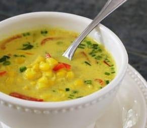 Thai coconut corn soup from Vegan Express