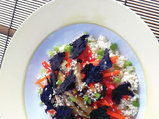 Deconstructed sushi bowl pilaf