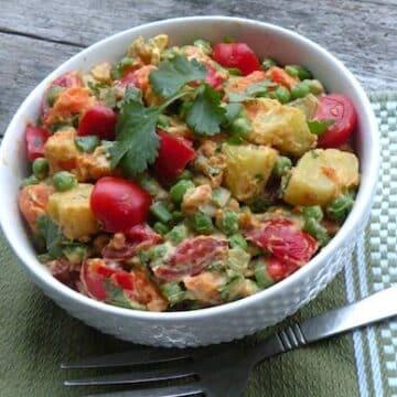 Curried potato tomato salad