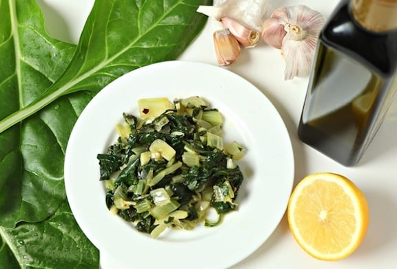 Sautéed garlicky chard or other leafy greens