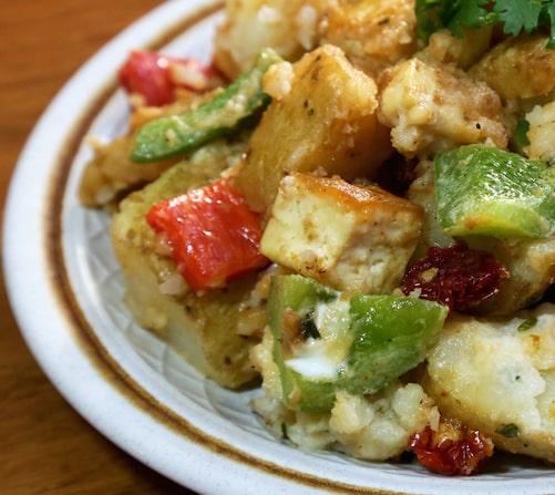 Marinated Potato and Tofu Salad with Dried Tomatoes recipe