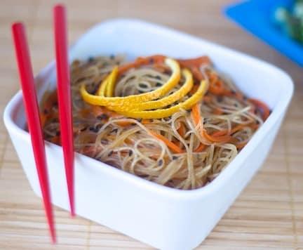 vegan gluten free orange sesame noodles