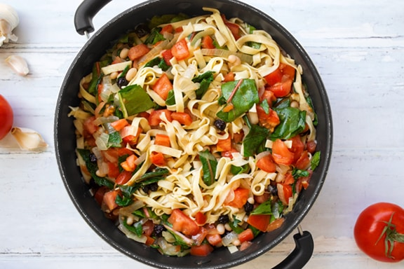 Pasta with white beans and chard