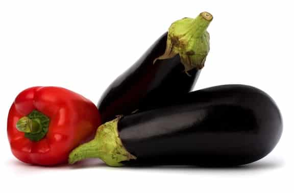 Eggplant and bell peppers