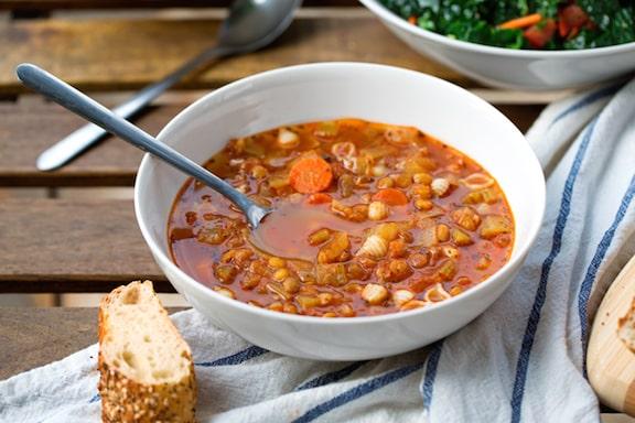 Lentil pasta soup recipe