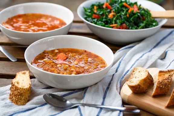Lentil conchiglietti pasta soup