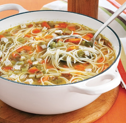 vegan mock chicken noodle soup