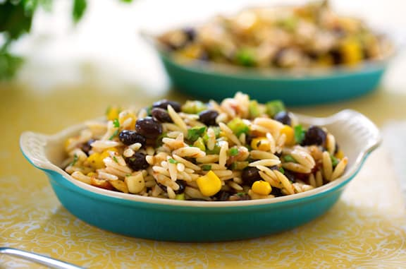 Orzo and blac bean salsa salad