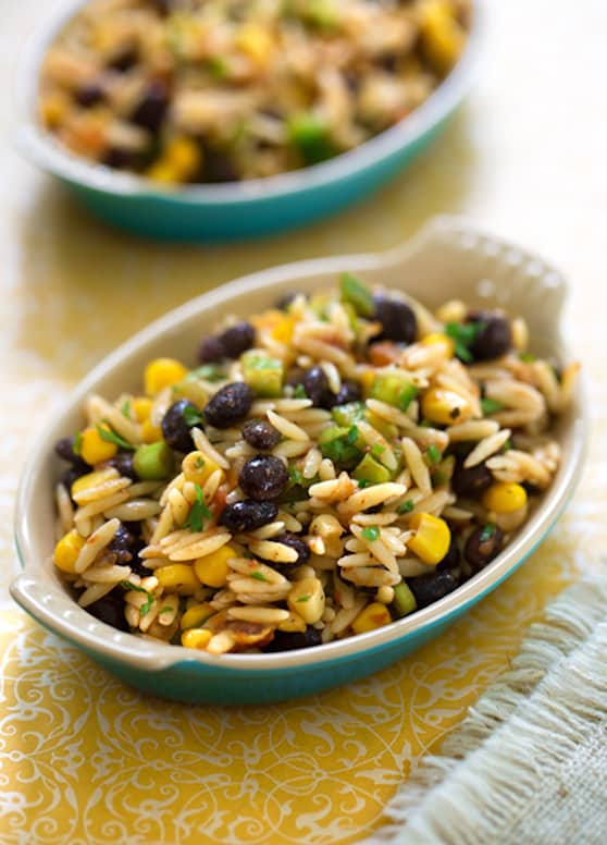 Southwestern Orzo and blac bean salsa salad