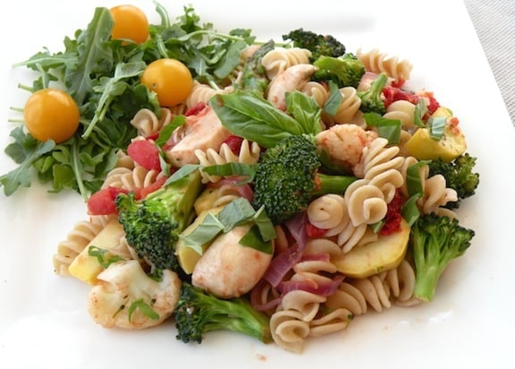 Vegan Pasta Primavera recipe plated