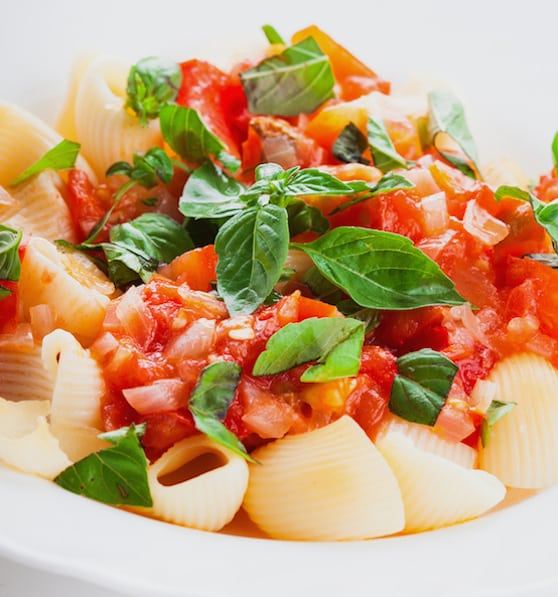 Cold pasta with fresh tomatoes and basil