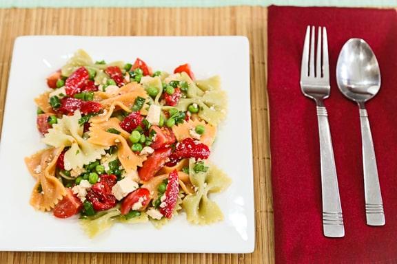 "Pasta Salad with Roasted Peppers and Tofu ""Feta"" recipe"