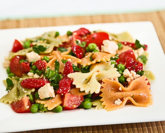 "Pasta Salad with Roasted Peppers and Tofu ""Feta"""