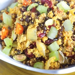 Black Lentil Celery Couscous with Jeweled Fruit