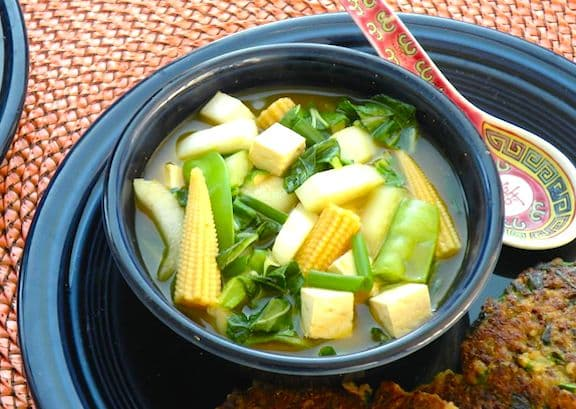 Bok choy, tofu, and baby corn soup