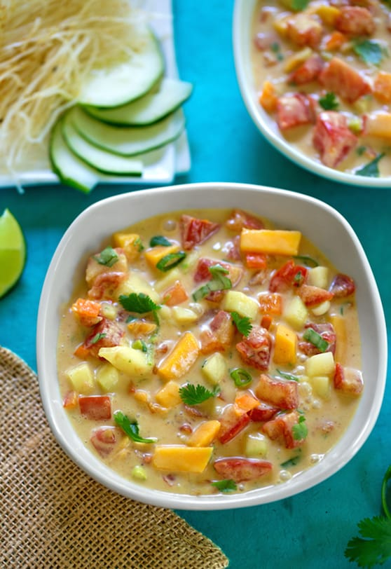 Chilled tomato mango soup