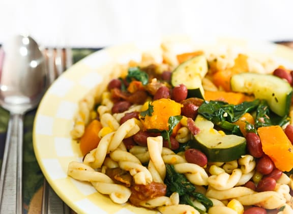 Harvest Medley Pasta with fall vegetables
