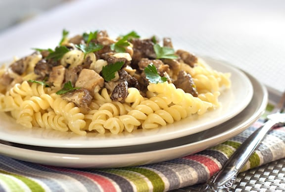 Vegan mixed mushrooms stroganoff