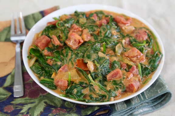 West African Spinach with Spicy Peanut Sauce