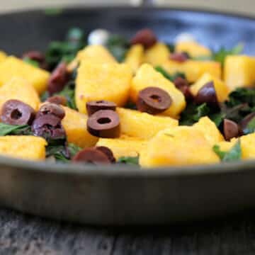 Polenta with Chard and olives