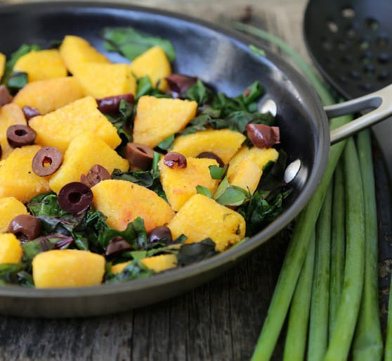 Polenta with Chard and olives recipe