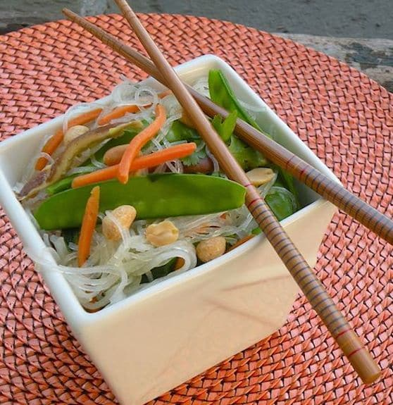 Rice noodles with shiitake mushrooms and snow peas