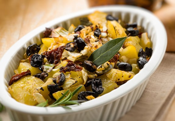 Rosemary roasted potatoes with black olives