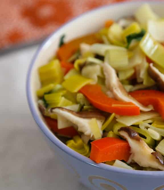Leeks with Bell Peppers and Shiitakes recipe
