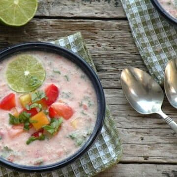 Cold tomato-coconut soup