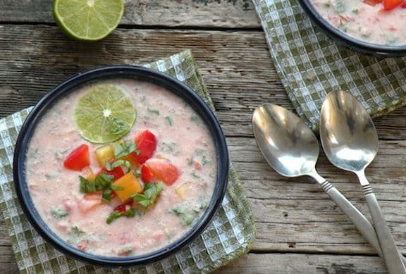 Cold tomato-coconut soup