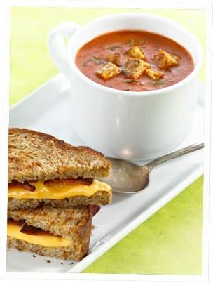 carrot, tomato, tempeh soup