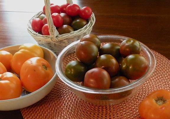 Heirloom tomatoes on table