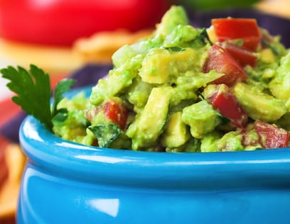 Guacamole with fresh tomatoes